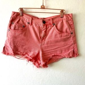 Free People Denim Cut Off Shorts Salmon/Pink sz28